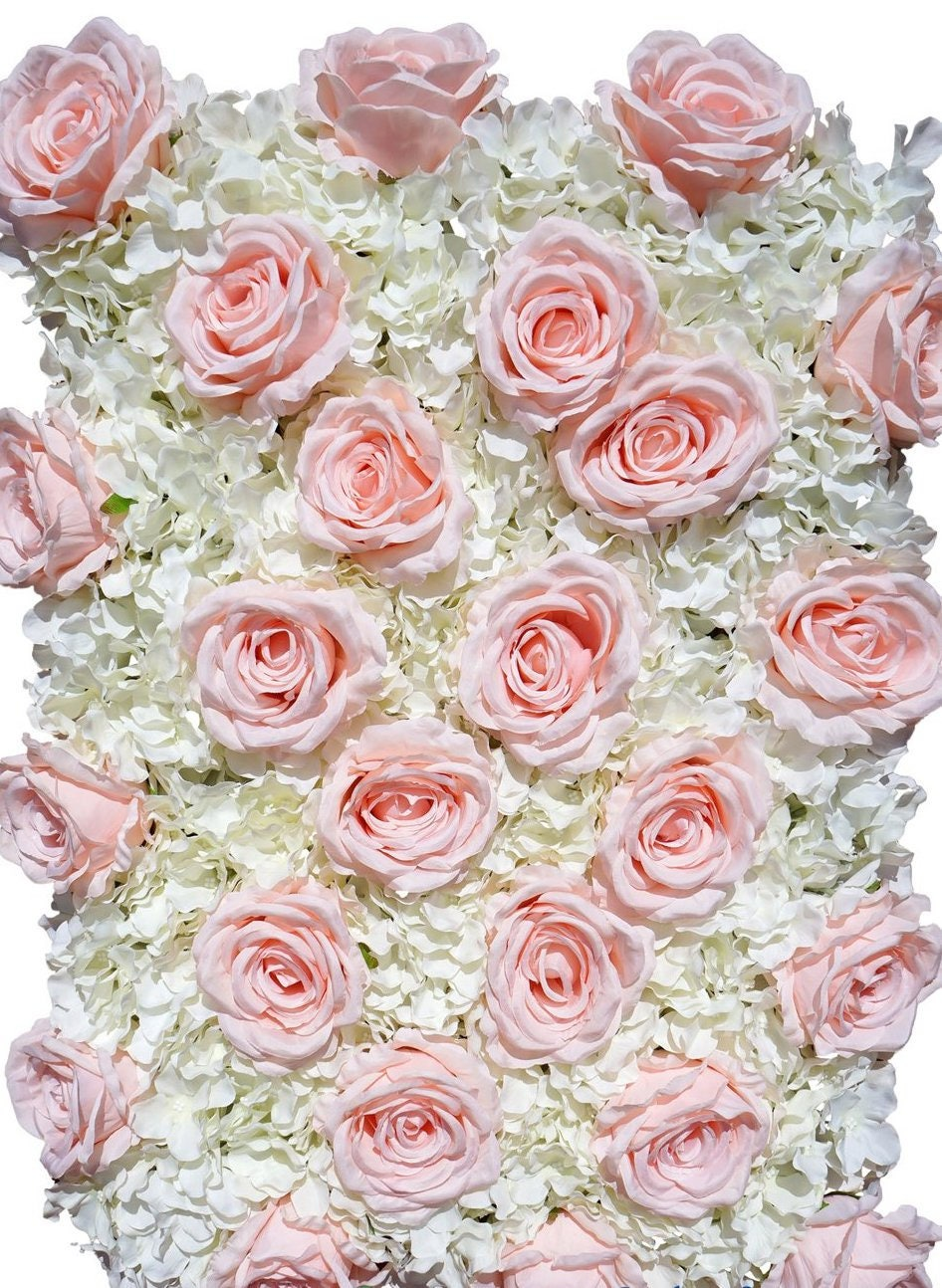 Blush White Flower Wall Pink Roses Hydrangeas Artificial Etsy