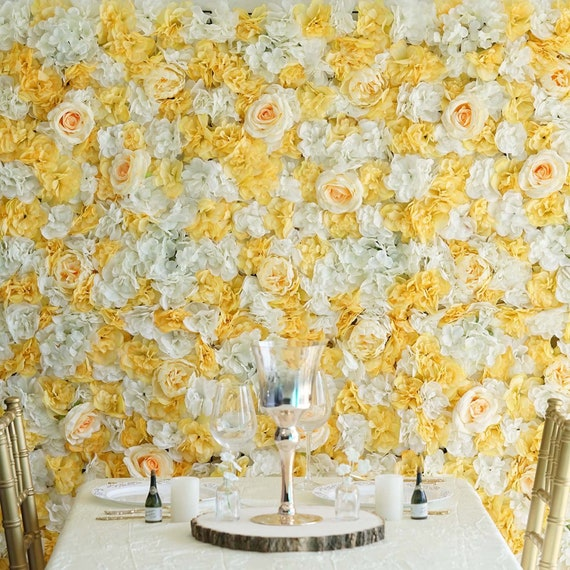 8 Foot Wall Yellow White Peony Flower Wall Rose Hydrangeas Artificial Peonies Panels Wedding Decorations Fake Pastel Flower Sale Wholesale