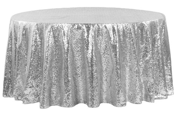 108 Silver Sequin Tablecloth Table Cloth Sparkly Linens Wedding Event Birthday Anniversary Cream Off White 4 Foot Cake Table Glittery Sale