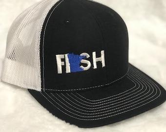 c7b2e6c946e Fish Minnesota hat. Minnesota fish hat. Dark blue Minnesota fish hat. Light  blue minnesota fishing hat. Snapback MN fish hat Mens MN fish