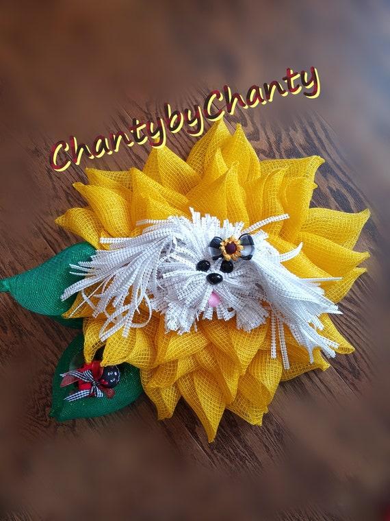 Dog wreath, Sunflower Wreath, Yorkie Wreath, Door Wreath, Sunflower, Wall  Decor, Summer Wreath, maltese, shihtzu,ChantybyChanty