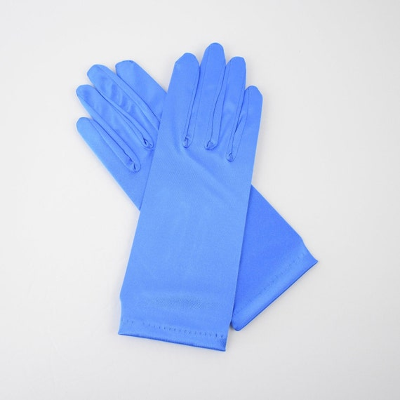 ROYAL BLUE SATIN STRETCHY GLOVES ONE SIZE Wrist Length U S SELLER