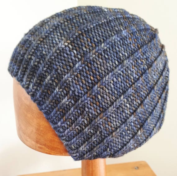 07609987eef mens mans beanie hat winter hat medium merino wool grey blue