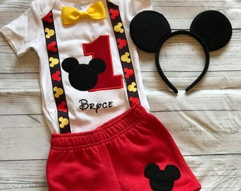 Mickey mouse birthday shirt Mickey mouse boys set Mickey mouse first birthday outfit mickey mouse party Mickey mouse outfit shirt ears & Mickey mouse birthday outfit | Etsy