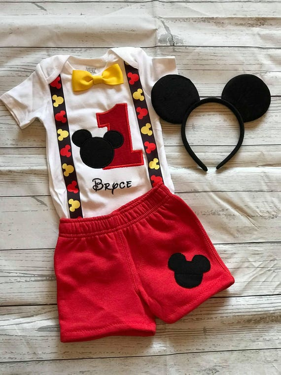 Mickey Mouse Birthday Shirt Boys Set