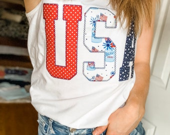 67cc1741de9e Patriotic 4th of July Comfort Colors Embroidered T-shirt and Tank top