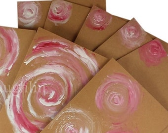 5 Hand Painted Floral Notecards with Envelopes. Handmade Cards for Any Occasion. Free Shipping in US. Last Chance CLEARANCE SALE!