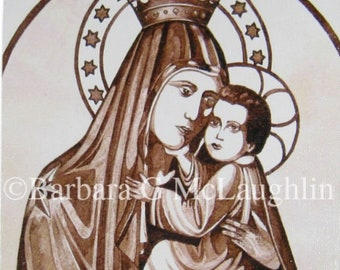 Our Lady of Mount Carmel Canvas Painting Print, 5x7 Religious Wall Art, Baptism Gift Girl, Last Chance CLEARANCE SALE
