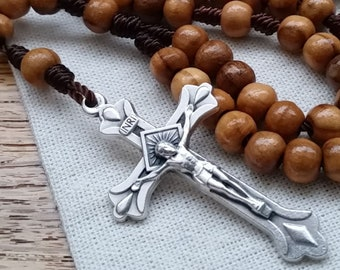 Wooden Rosary with 6mm Olive Wood Rosary Beads, Metal Crucifix, and Nylon Cord. Pocket Rosary for Men and Women. Last Chance CLEARANCE SALE.