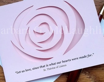 Catholic Card with St Therese of Lisieux Quote. Hand Made Card with Envelope