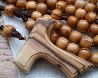 Franciscan Rosary with 9mm Wooden Rosary Beads and Tau Cross, Catholic Gifts for Men and Women, St Francis of Assisi Confirmation Gift