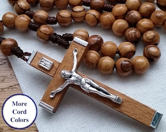 Handmade Wooden Rosary with 7mm Olive Wood Rosary Beads, Beautiful Wooden Crucifix, Women's and Mens Rosary with Case