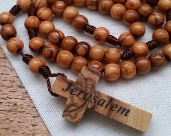 Wooden Rosary with 6mm Olive Wood Rosary Beads and Jerusalem Cross. Traditional Catholic Gifts for Him or Her. Last Chance CLEARANCE SALE!
