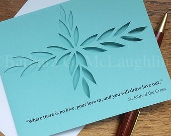 Catholic Card with St John of the Cross Inspirational Quote, Hand Cut Paper Art Handmade Cards and Envelopes