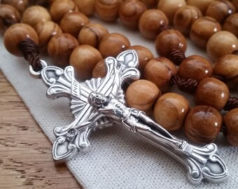 5 Decade Rosary with 8mm Olive Wood Rosary Beads and Metal Crucifix, Catholic Boy Rosary, Religious Gifts for Men and Women