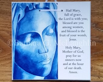 Hail Mary Prayer Plaque with Virgin Mary, Religious Wall Art, Catholic Baby Gifts, Last Chance CLEARANCE SALE