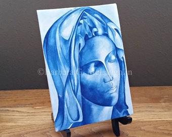 5x7 Virgin Mary Canvas Print, Original Catholic Art Pieta Painting, Catholic Mom Gift, Last Chance CLEARANCE SALE