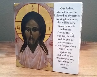 Catholic Art Icon of Holy Face of Jesus, Our Father Wood Block, Religious Gifts, Last Chance CLEARANCE SALE