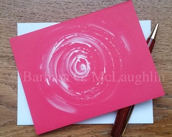 Floral Note Cards with Hand Painted Rose. Original Abstract Homemade Cards with Envelopes.
