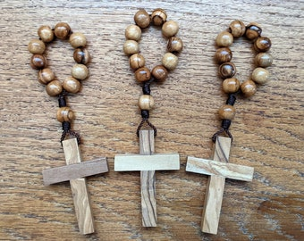 One Decade Rosary Set, 3 Finger Rosary Rings with 8mm Wooden Rosary Beads and Olive Wood Cross, Catholic Mini Rosary