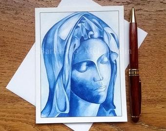 Virgin Mary Catholic Art Cards, Handmade Blank Greeting Cards with Envelopes