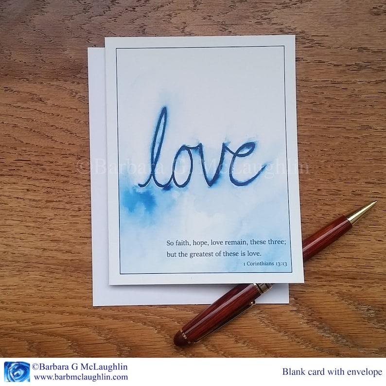 Scripture Wedding Cards with Love Bible Verse Blank Card Set. 1 Corinthians 13 13