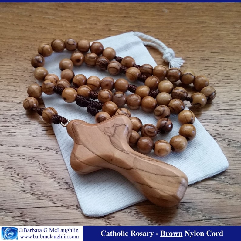 Wooden Rosary with 8mm Large Prayer Beads Comfort Cross and Brown