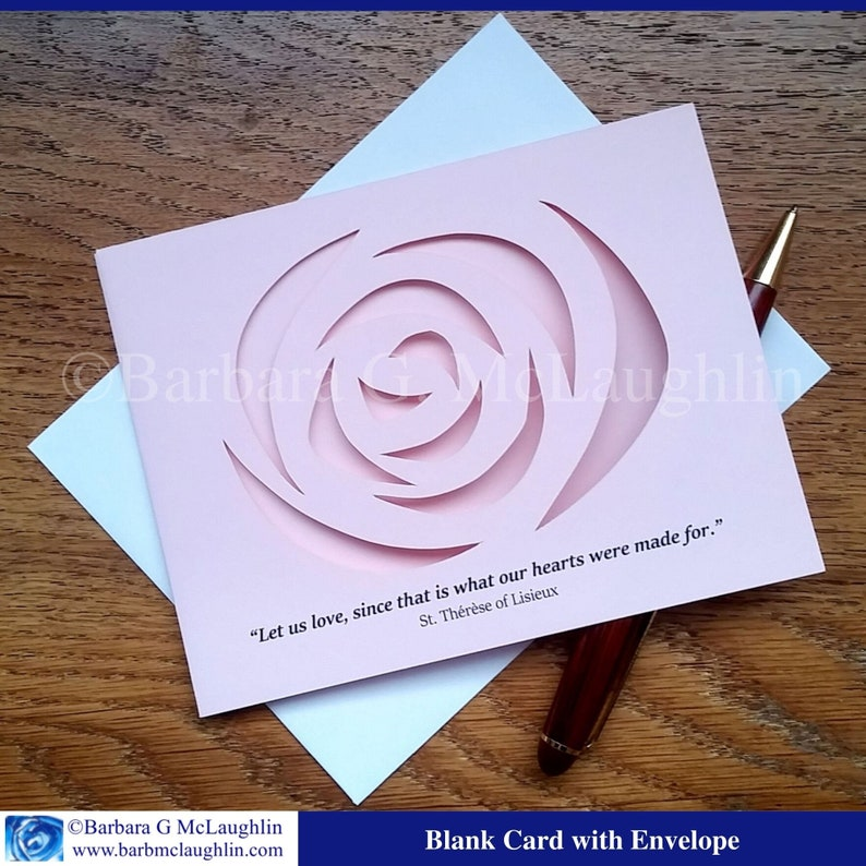 Catholic Card with St Therese of Lisieux Quote. Hand Made Card image 0