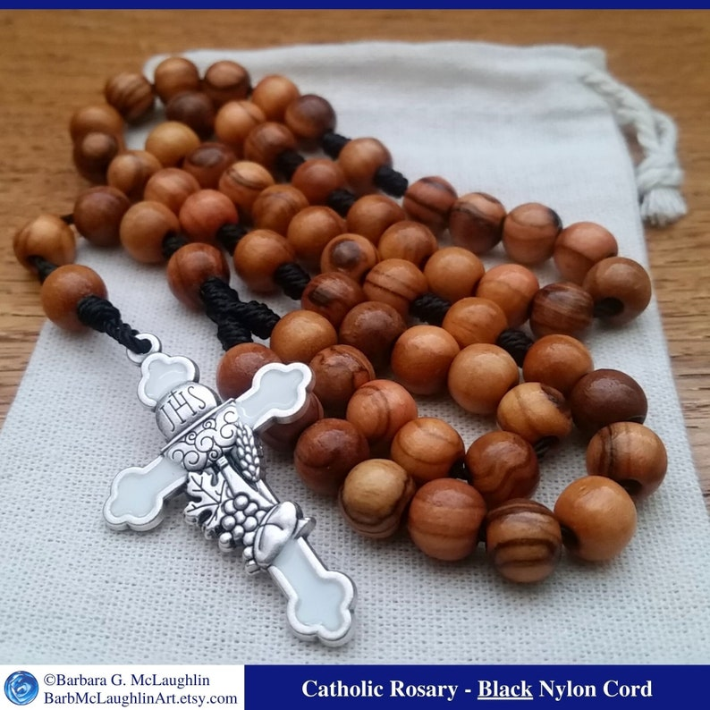First Holy Communion Wooden Rosary with 7mm Olive Wood Rosary Black
