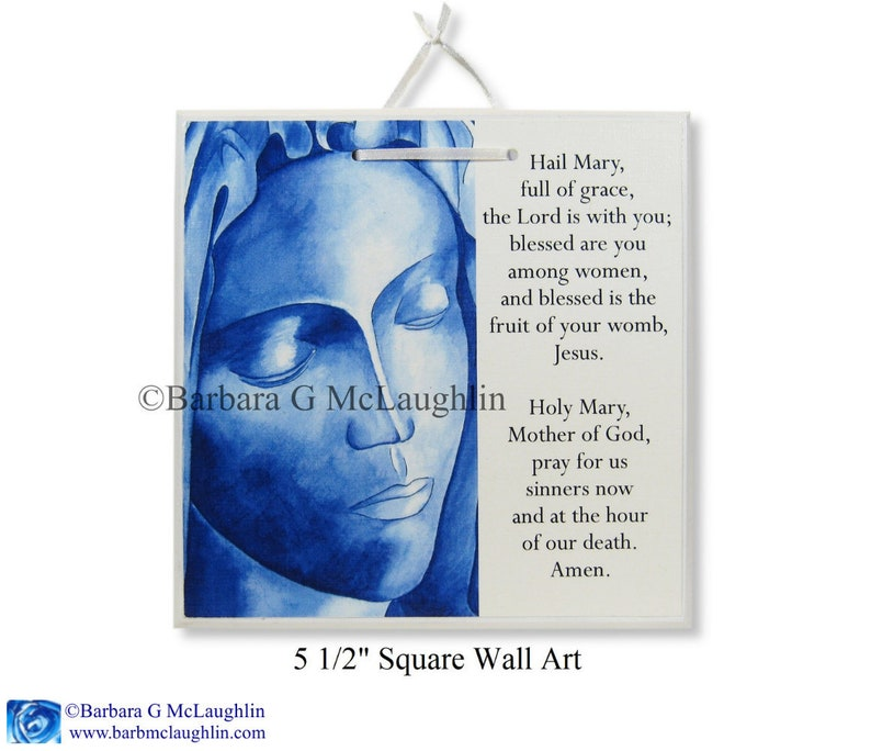 Virgin Mary Art Sign with Hail Mary Prayer  Religious Wall Art  Catholic  Baptism Gift for Girls