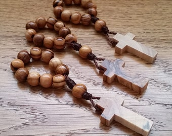 One Decade Rosary Ring Set, 3 Finger Rosaries with Olive Wood Beads and Small Wooden Cross, Catholic Gifts for Men, Women, Boys & Girls