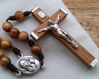 Catholic Rosary with 7mm Olive Wood Rosary Beads and Traditional Wooden Crucifix, Catholic Gifts for Women, Sympathy Gifts