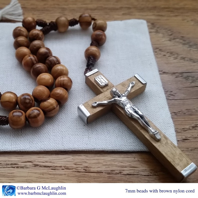 Handmade Wooden Rosary with 7mm Olive Wood Rosary Beads. Brown