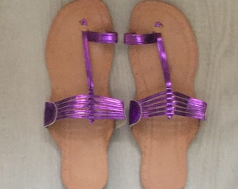 6273b151957a5 Kolhapuri chappals indian sandals summer slippers sand and beach summer  holidays leather sole metallic purple