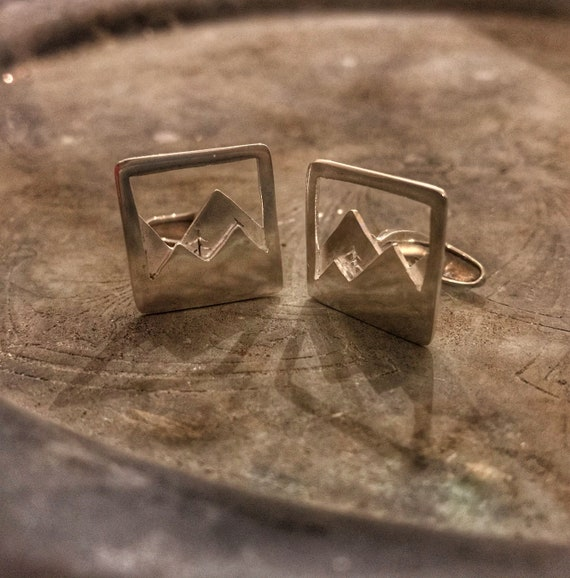 Silver Mountain Cufflinks, The Pine In The Valley, Mountain and Tree, Sterling Silver