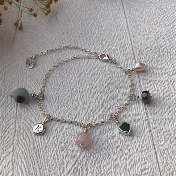 Extra Charms for Bracelets and Necklaces: Seaglass, Pearl, Amazonite, Rose Quartz, Apache Gold Beads, Recycled Sterling Silver