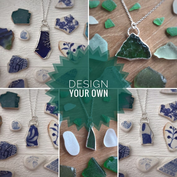 Bespoke Sea Pottery and Sea Glass Pendant necklace. Recycled Sterling Silver, Choose your own design