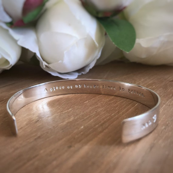Personalised silver cuff bracelet with recycled silver / Add your own message /Recycled Sterling Silver / Hand Stamped