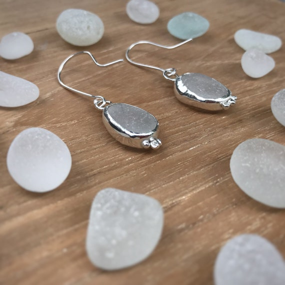 Seaglass Srop Earrings, White Seaglass, Recycled Silver Dangly Earrings, One-of-a-Kind, Made To Order