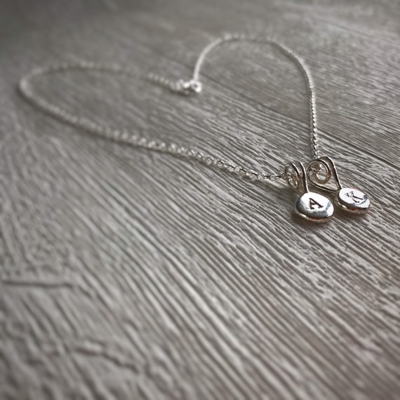 Personalised silver necklace with initial Pebble Pendant, recycled sterling silver