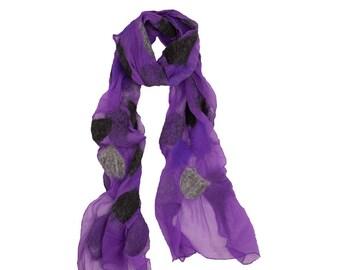 Nuno Felted Scarf - Anja Purple