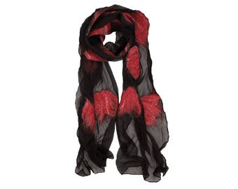 Nuno Felted Scarf - Madelaine Red