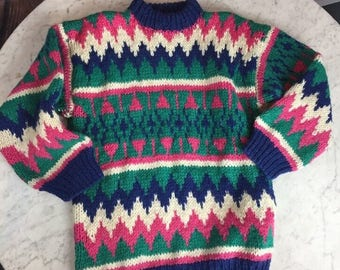Vintage 1980s / 1990s Zig Zag Chunky Knit Wool Women's S Crewneck Sweater in a riot of Aqua, Hot Pink, Blue and White from Passports Pier 1