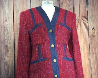 Vintage 1990s Henri BENDEL Red and Blue Mohair Wool and DENIM Women's Size 8 Blazer with Rose Shaped Buttons Made in USA