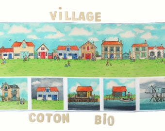 Large coupon illustrated village, fishermen's huts, fabric for organic cotton patchwork, Anne Duprat
