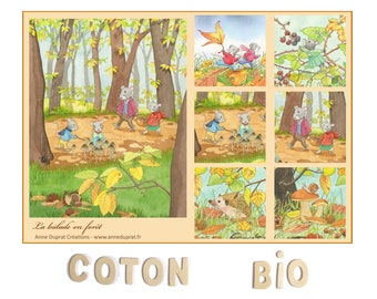 quilt coupon, organic cotton for patchwork, illustrated coupon mouse in autumn, forest, Anne Duprat