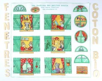 Small mouse house windows fabric, organic cotton, cutting panel