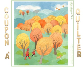Quilter panel illustrated by Anne Duprat, organic cotton, on the way to school