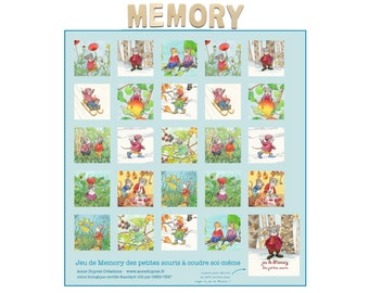 """Memory game to sew yourself, organic cotton coupon to cut """"the little mice"""", illustrated by Anne Duprat"""