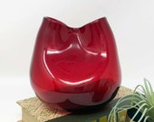Pinched Ivy Vase - Blenko 39 (most likely) - Ruby Red - Made 1930s - 1956